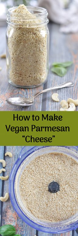 Learn How to Make Vegan Parmesan Cheese! 4 ingredient vegan parmesan cheese made with raw cashews that is the perfect substitute for any recipe you would use Parmesan cheese for!