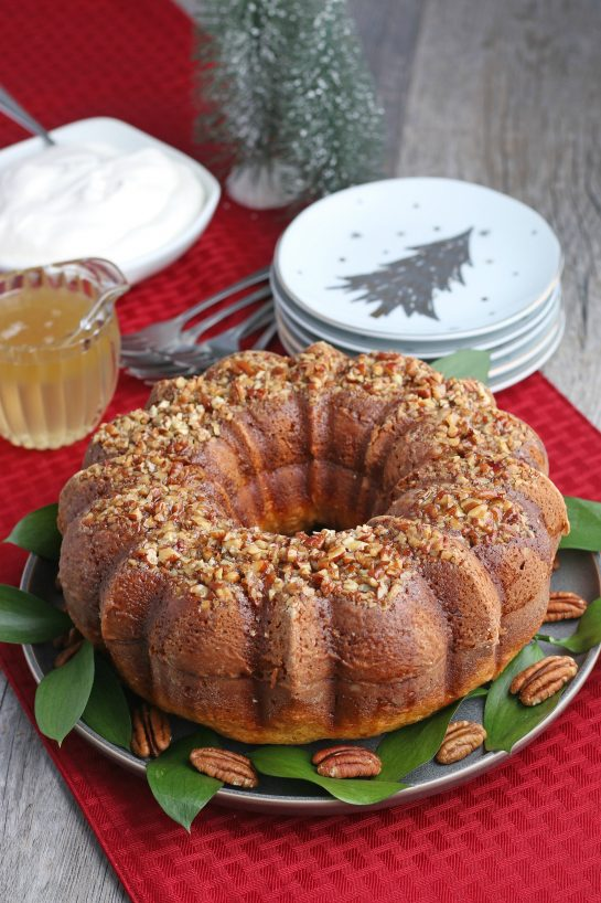 A finished shot of the gorgeous Bacardi rum cake.