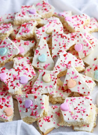 This image shows the completed recipe for conversation hearts cookie bark.