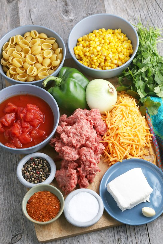 This is the view of the ingredients needed to make taco pasta!