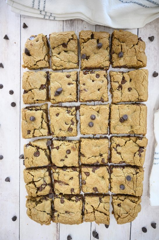 Easy Chewy Chocolate Chip Cookie Bars without a mixer or chilling dough are a staple in my kitchen and once you make them, everyone asks for the recipe. They are a delicious, easy dessert recipe!