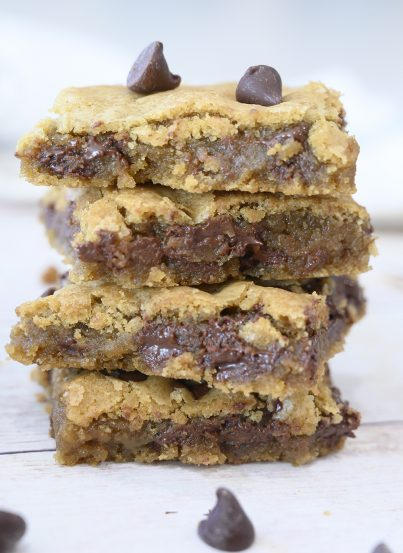 Chewy Chocolate Chip Cookie Bars without a mixer or chilling dough are a staple in my kitchen and once you make them, everyone asks for the recipe. They are a delicious, easy dessert recipe!