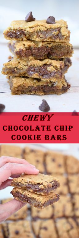 To-Die-For Chewy Chocolate Chip Cookie Bars without a mixer or chilling dough are a staple in my kitchen and once you make them, everyone asks for the recipe. They are a delicious, easy dessert recipe!