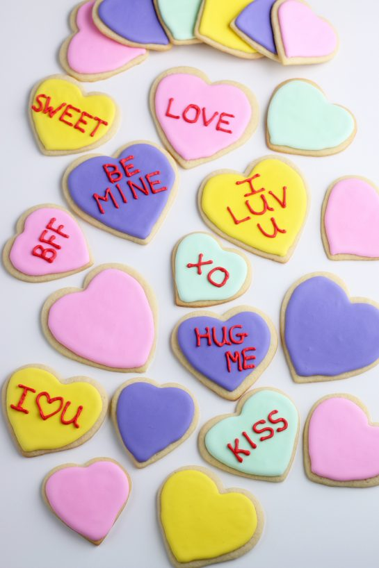 A top down view of the finished sugar cookie decorating ideas, these Valentines day cookies are easy and fun!