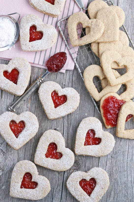A top down view of the gorgeous heart shaped cookies ready to be shared and enjoyed.