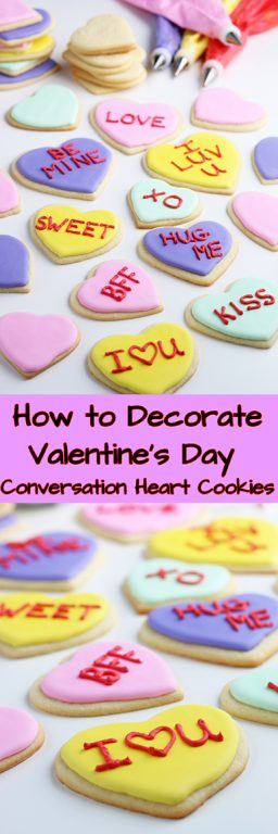 Today we're learning how to decorate cookies, more specifically Valentines cookies! These Valentines Day cookies are made to look like conversation hearts, when it comes to sugar cookie decorating ideas you can't beat a classic.