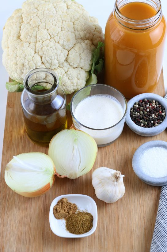 Here are all the ingredients needed to make your own cauliflower soup. Roasted cauliflower soup ingredients ready to be cooked!