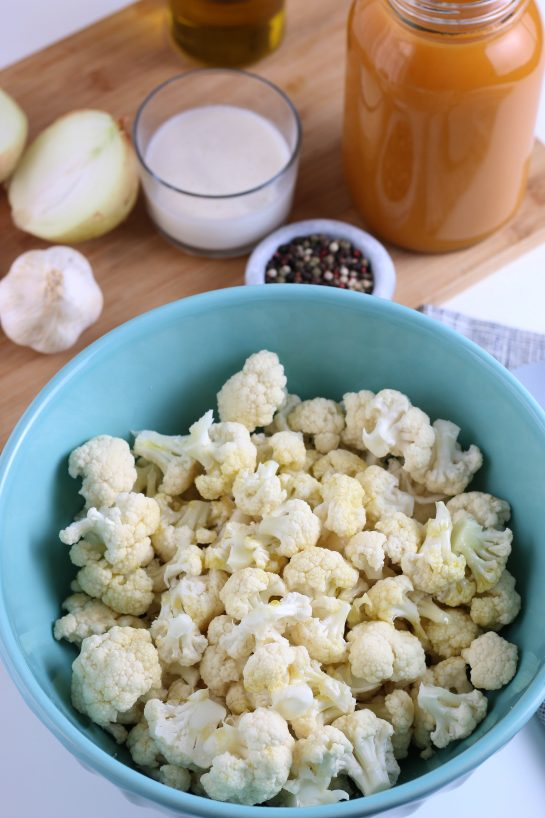 This image shows us the cauliflower in florets ready to be roasted for our soup recipe.