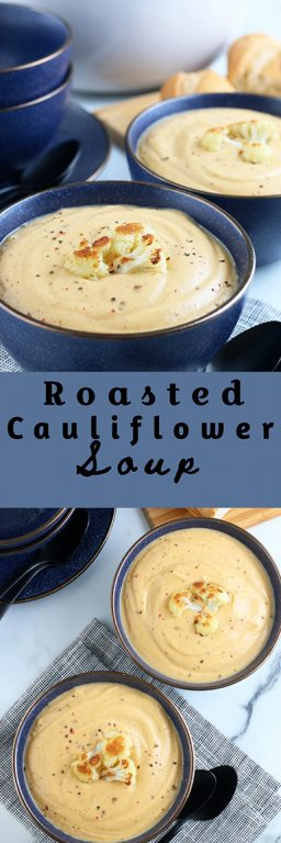 If you have a craving for a warm, creamy soup, this roasted cauliflower soup will do the trick. It's so smooth and perfectly creamy. It doesn't hurt that there's a lot of vegetables hiding in this indulgent cauliflower soup recipe.