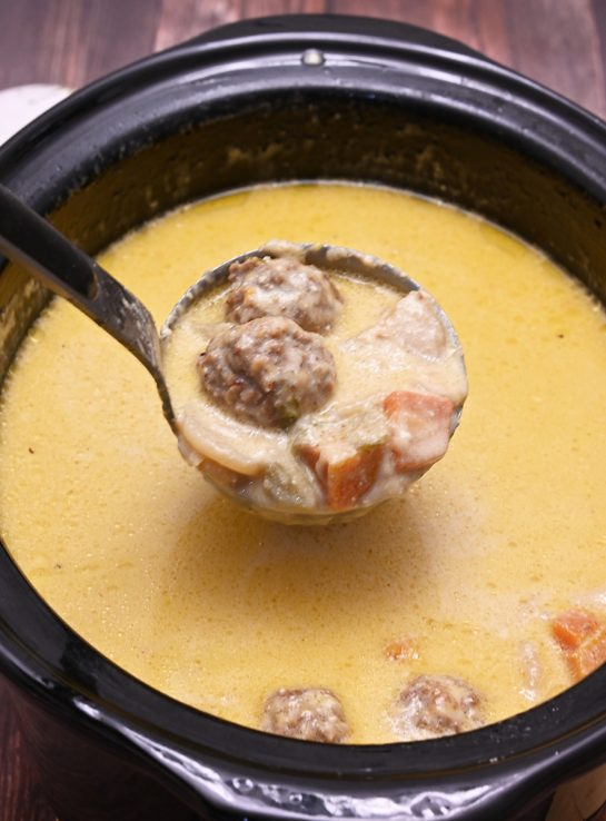 Crock Pot Slow Cooker Cheesy Meatball Soup an easy weeknight family dinner recipe everyone will love. It is a soup recipe that is delicious on a cold winter day!