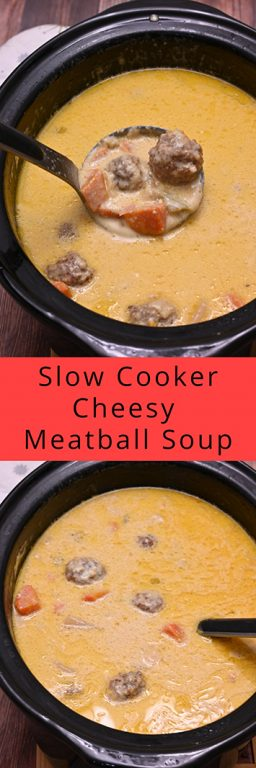 Slow Cooker Cheesy Meatball Soup an easy weeknight family dinner recipe everyone will love. It is a thick soup recipe that is delicious on a cold winter or fall day!
