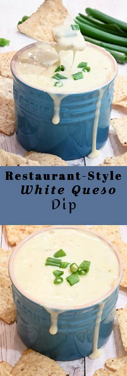 Restaurant-Style White Queso Dipa creamy cheese dip is the perfect, easy appetizer recipe that contains just 5 ingredients and is ready in only 10 minutes!