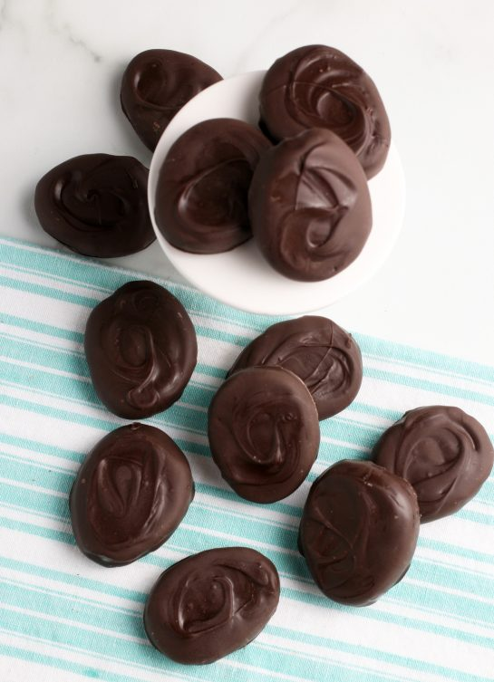 Another top down look at these delicious chocolate peanut butter eggs.