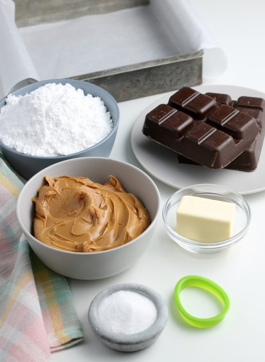 All of the ingredients needed for our recipe for peanut butter eggs all laid out before we begin.
