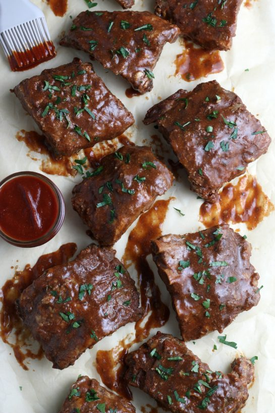 A top down look at the finished recipe for crock pot ribs.