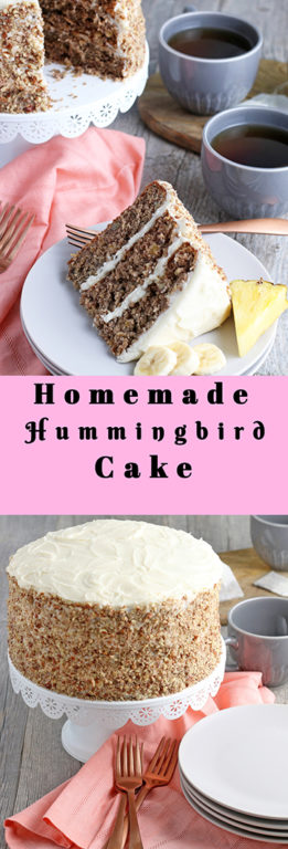 My from scratch Hummingbird Cake is a beloved, classic southern cake recipe packed with banana and pineapple that looks so impressive for a holiday or birthday party!