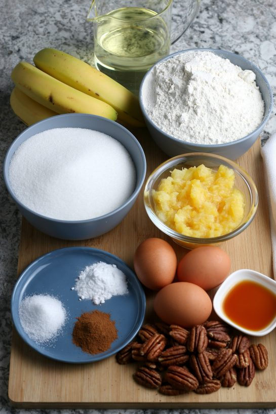 Ingredients needed to make the Homemade Hummingbird Cake