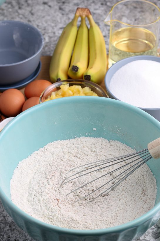Mixing up the dry ingredients for the Homemade Hummingbird Cake recipe