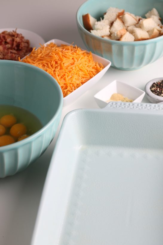 Here we see all of the ingredients for our overnight egg casserole prepped and ready for cooking!