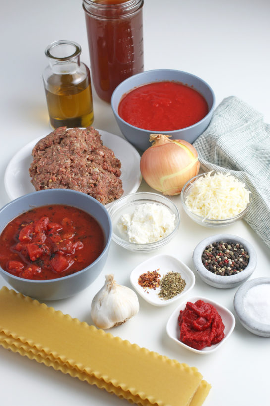 These are all the ingredients needed for how to make lasagna soup laid out before we begin.
