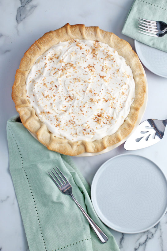 A top down view of the completed recipe for the best coconut cream pie.