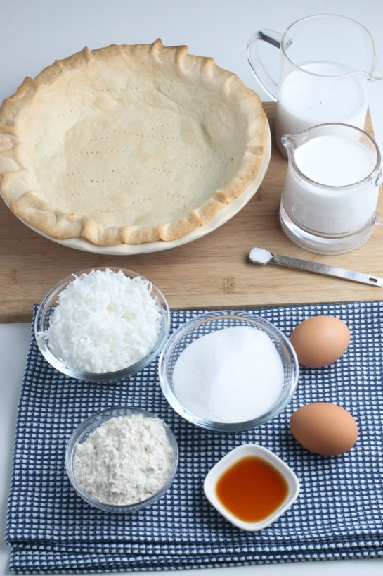These are all of the ingredients needed to make my recipe for coconut cream pie laid out before we begin baking.