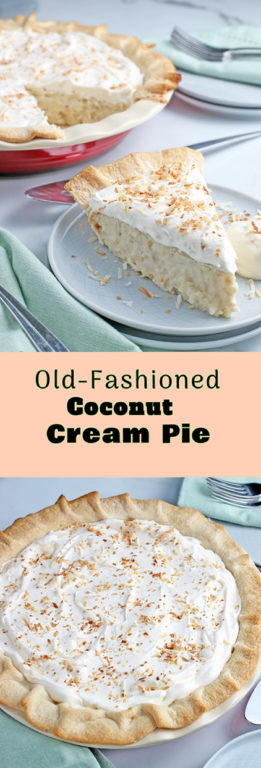 This is my favorite classic coconut cream pie recipe. It's the best coconut cream pie, so light and fluffy on top but packed with rich creamy flavor on the bottom. Old fashioned coconut cream pie is a spring and summer staple in our house!