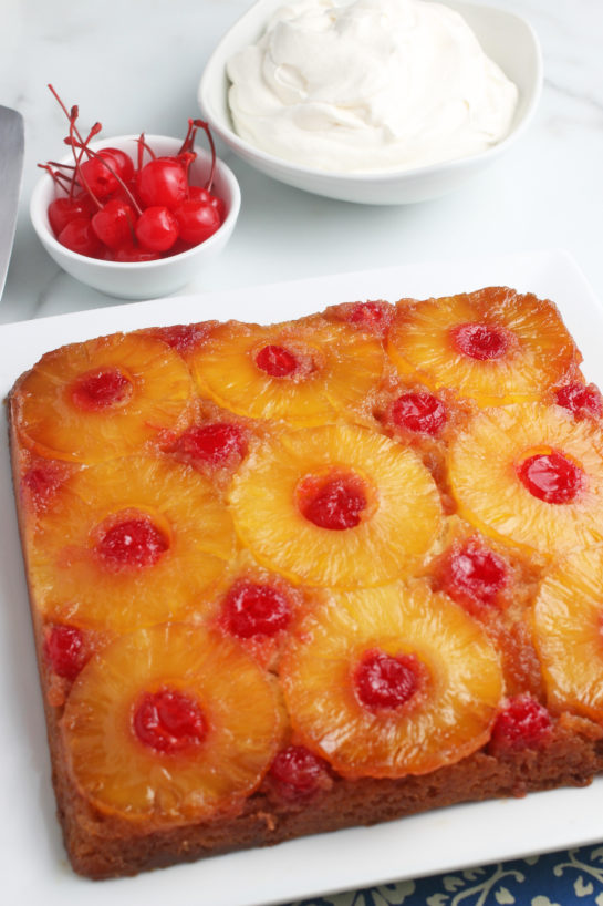 Here we see the finished pineapple upside down cake ready to be cut and shared.