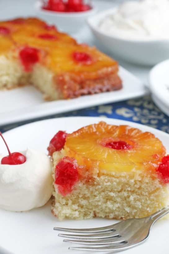 This is a close up shot of a slice of pineapple upside down cake recipe finished and ready to devour.