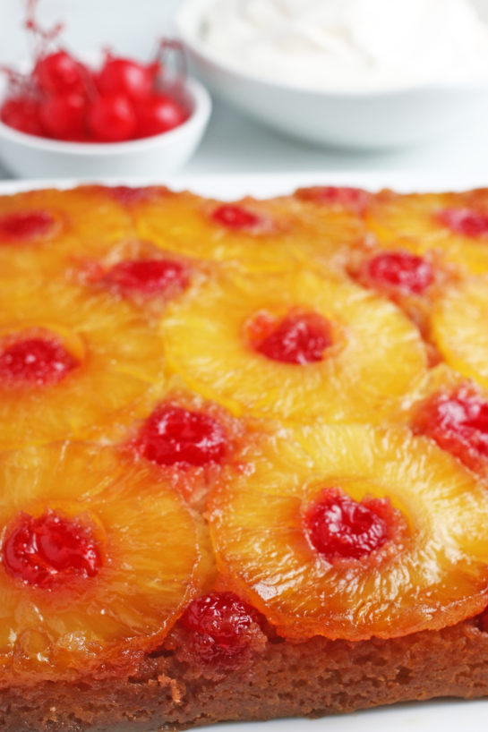 A close up view of the beautiful caramelized fruit on top of the upside down cake!