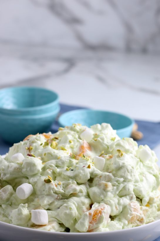 Here we see a final shot of the pistachio salad in a bowl ready to be served.