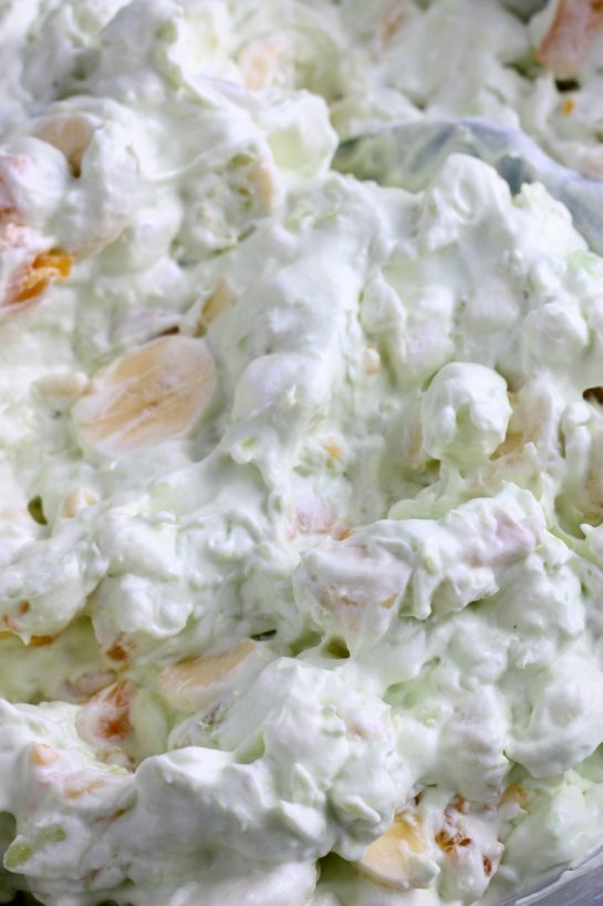 A close up view of the pistachio salad before it's served up.