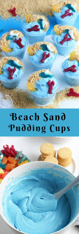 Beach Sand Pudding Cups are an adorable and delicious no-bake dessert recipe for kids to help made!  Beach Sand Pudding Cups are an adorable and oh-so-delicious no-bake dessert recipe for kids!  Vanilla pudding, food coloring, and whipped topping make for the cutest snack for a party!