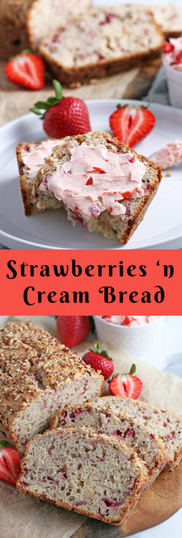 This ultra moist strawberry bread recipe is easy to make, quick, and simple. It's a strawberry and cream bread that makes a great snack, breakfast, or dessert!