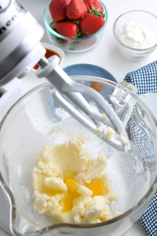 The butter and sugar are creamed together and now we see into the mixer as the eggs are added.