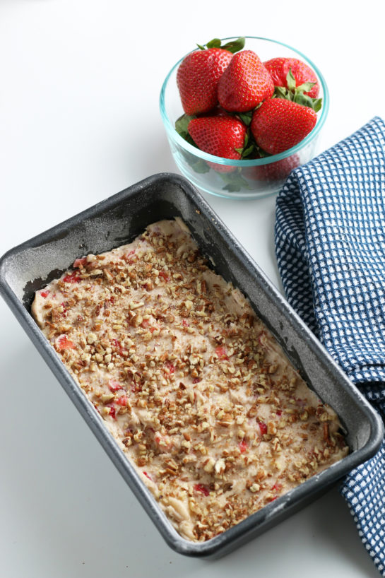Here we see the recipe for strawberry bread ready for the oven!