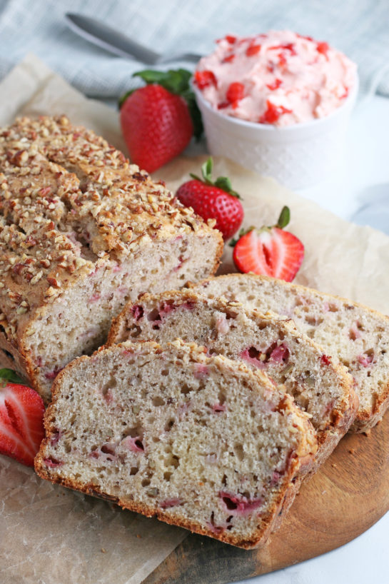 An up close shot of the slices of strawberry bread ready to be shared and eaten.