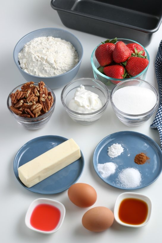 Here are all the ingredients for our recipe for strawberry bread laid out before we begin baking.