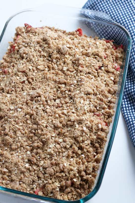 Strawberry & Rhubarb crisp recipe finished in the pan and out of the oven
