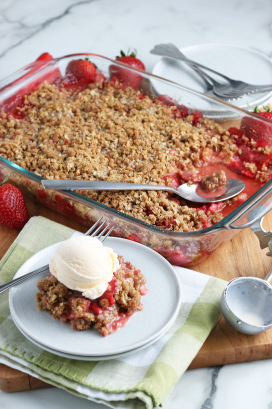 Strawberry & Rhubarb crisp recipe finished in the pan and out of the oven and plated