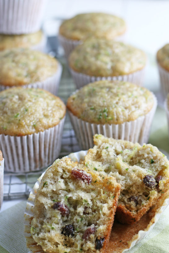 Close-up shot of the inside of the Zucchini Muffins recipe with raisins showing