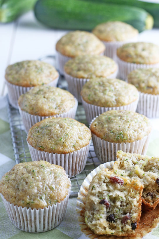Super soft Zucchini Muffins recipe with a little spice from cinnamon, a lot of zucchini, and a dessert but can be passed off as breakfast!