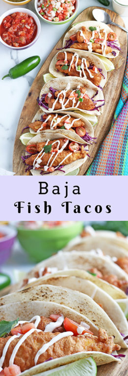 Beer-Battered Baja Fish Tacos recipe: white fish inside a warm tortilla with a chipotle lime crema for an island-inspired recipe that will make you feel like you're on vacation!