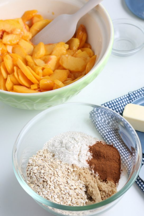 Mixing the dry ingredients for Best Fresh Peach Crisp recipe