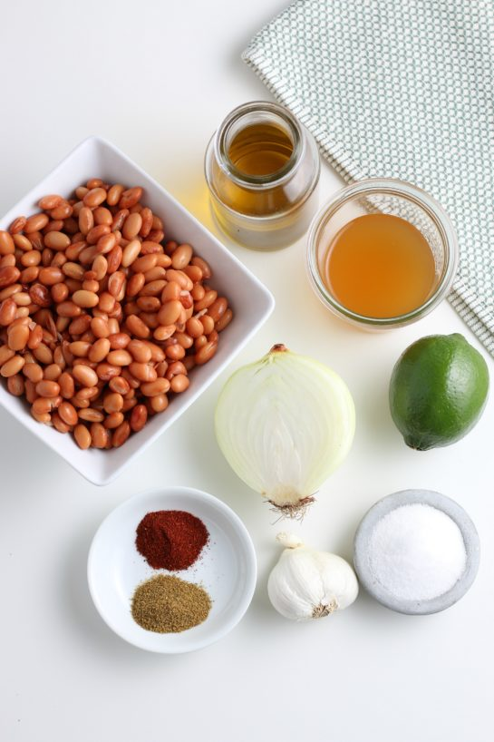 Ingredients needed to make the homemade refried beans