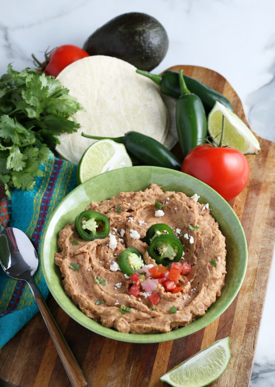 Homemade Refried Beans recipe that is so good you will never go back to store-bought! They check all the boxes for me: lots of flavor, tons of texture, super hearty!