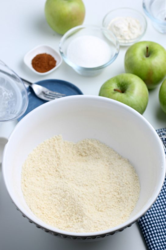 Mixing together the dry ingredients for the apple crostata recipe