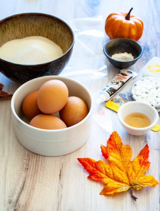 Ingredients out and prepared for the Halloween Boo Meringues recipe