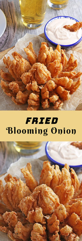 Fried Blooming Onion cooked until golden and served with a homemade dipping sauce for the ultimate appetizer recipe. Grab a sweet onion and turn it into an incredible, delicious snack for game day!