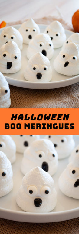 Spooky Halloween Boo Meringues are an incredibly fun and easy Halloween recipe for kids for a party! The whole family will love them!